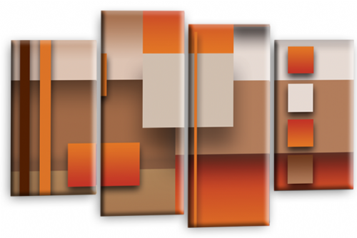 Abstract Orange Cream Grey Canvas Split Wall Art Picture Print